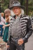 Man outside Costume National fashion shows building for Milan Women's Fashion Week 2014 — Stock Photo