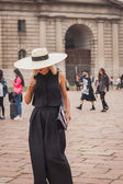 Woman outside Cavalli fashion shows building for Milan Women's Fashion Week 2014 — Stock Photo
