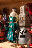Vintage tinplate robots on display at HOMI, home international show in Milan, Italy — Stock Photo