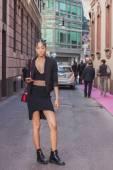Beautiful model outside Grinko fashion show building for Milan Women's Fashion Week 2014 — Stock Photo