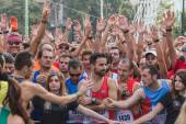 Athletes taking part in Deejay Ten, running event organized by Deejay Radio in Milan, Italy — Stock Photo