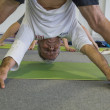 Man takes a class at Yoga Festival 2014 in Milan, Italy — Stock Photo #55306729