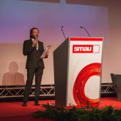 CEO Pierantonio Macola talking at Smau 2014 in Milan, Italy — Stock Photo