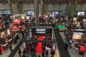Top view of people and booths at Smau 2014 in Milan, Italy — Stock Photo