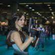 ������, ������: Lara Croft cosplayer posing at Games Week 2014 in Milan Italy