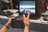 People playing at Games Week 2014 in Milan, Italy — Foto Stock