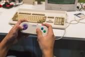 Retro gamepad at Games Week 2014 in Milan, Italy — Stock Photo