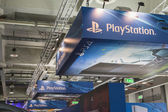 Detail of Playstation stand at Games Week 2014 in Milan, Italy — Stock Photo