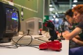 Retro joystick at Games Week 2014 in Milan, Italy — Stock Photo