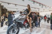 Beautiful model posing at EICMA 2014 in Milan, Italy — Foto Stock