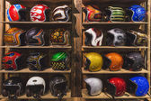 Stylish helmets on display at EICMA 2014 in Milan, Italy — Stock Photo
