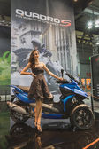 Model posing at EICMA 2014 in Milan, Italy — Stock Photo