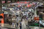 Top view of people and booths at EICMA 2014 in Milan, Italy — Stock Photo
