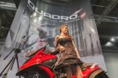 Model posing at EICMA 2014 in Milan, Italy — Photo