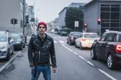 Punk guy posing in the city streets — Stock Photo