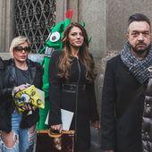People outside John Richmond fashion show building for Milan Men's Fashion Week 2015 — Stock Photo