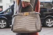 Detail of a bag outside Ferragamo fashion show building for Milan Men's Fashion Week 2015 — Stock Photo