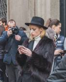 People outside Cavalli fashion show building for Milan Men's Fashion Week 2015 — Foto Stock
