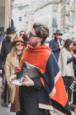 People outside Cavalli fashion show building for Milan Men's Fashion Week 2015 — Stockfoto