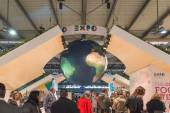 Expo stand at Bit 2015, international tourism exchange in Milan, Italy — 图库照片