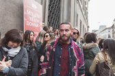 People outside Trussardi fashion show building for Milan Women's — Stock Photo
