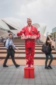 Freakish man outside Germani pavilion at Expo 2015 in Milan, Ita — Stock Photo