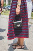 Detail of bag and shoes outside Gucci fashion show building for  — Stok fotoğraf