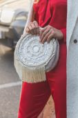 Detail of bag outside Etro fashion show building in Milan, Italy — Stock Photo
