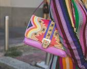 Detail of bag outside Iceberg fashion show building in Milan, It — Stock Photo