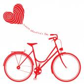 Happy Valentine card with red bike — Stock Vector