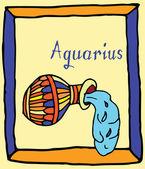 Vivid Aquarius horoscope sign vectorized hand draw — Stock Vector