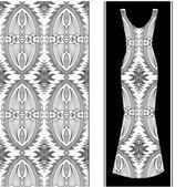 Siyah ve beyaz arka plan. Vektör moda illüstrasyon, Bayan elbise — Stok Vektör