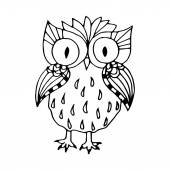 Black and white funny owl illustration — Stock Vector