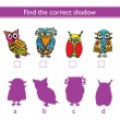 Find the correct shadow (owl). — Stock Vector #77921238