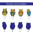 Find the correct shadow (owl). — Stock Vector #77927148