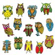 Set of various owls on simple white background — Stock Vector #77927514
