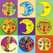 Funny Moon illustrations — Stock Vector