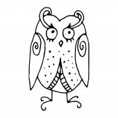 Funny owl illustration- original drawing vectorized — Stock Vector
