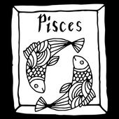 Pisces horoscope sign vectorized hand draw — Stock Vector