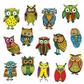 Set of various owls on simple white background — Stock Vector