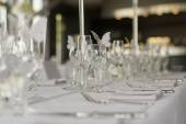 Image of banquet table on wedding day — Stock Photo