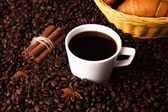 Coffee still life on a wood background — Stock Photo