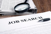 Document with the title of job search — Stock Photo