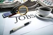 Job search still life with title jobs — Stock Photo