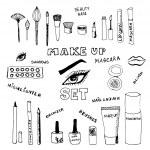Doodle make up set. Eps 8. — Stock Vector #58496219