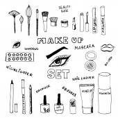 Doodle make up set. Eps 8. — Stock Vector
