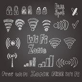 Hand drawn wi-fi vector set. Eps 8. — Stock Vector