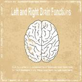 Left and Right brain function abstract grunge background, vector — Stock Vector