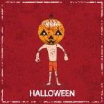 Cute Halloween Pumpkin grunge red background, vector illustratio — Stock Vector #52572937