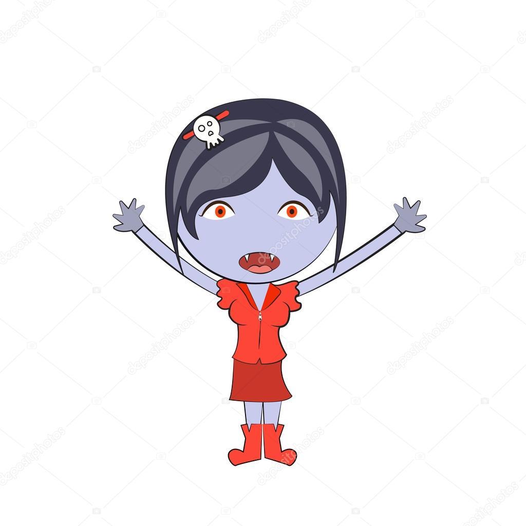 Cartoon happy vampire girl Cute doodles drawings — Stock ...